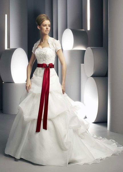 Bonito vestido de novia de color rojo y blanco Seleccione mejor ...