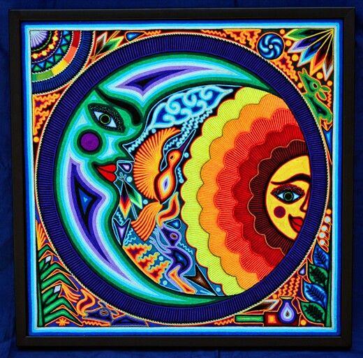 How To Make An Interesting Art Piece Using Tree Branches Ehow Arte Huichol Artesania Mexicana Pinturas Mexicanas