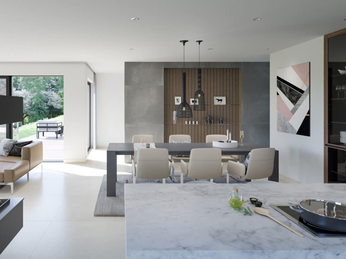 Offene Küche modern mit Blick ins Esszimmer & Wohnzimmer ...