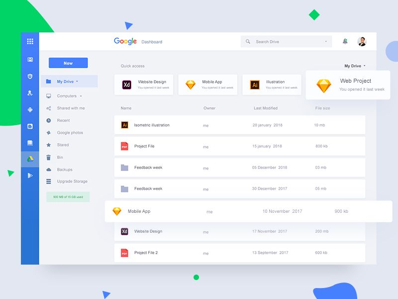 Google Dashboard Concept With Images
