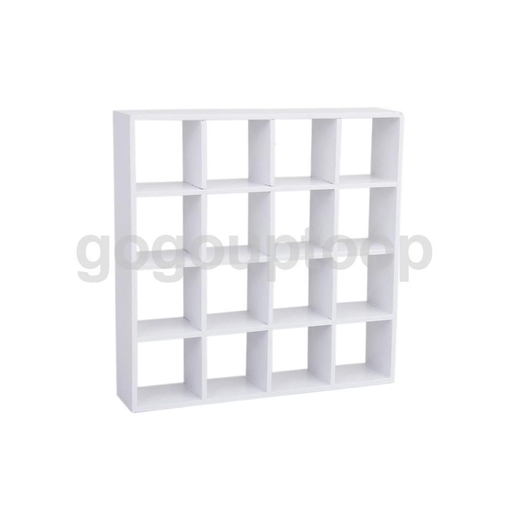Doll House Miniature 16 Grid wooden Display Shelf Stand White Wood Furniture #Unbranded #