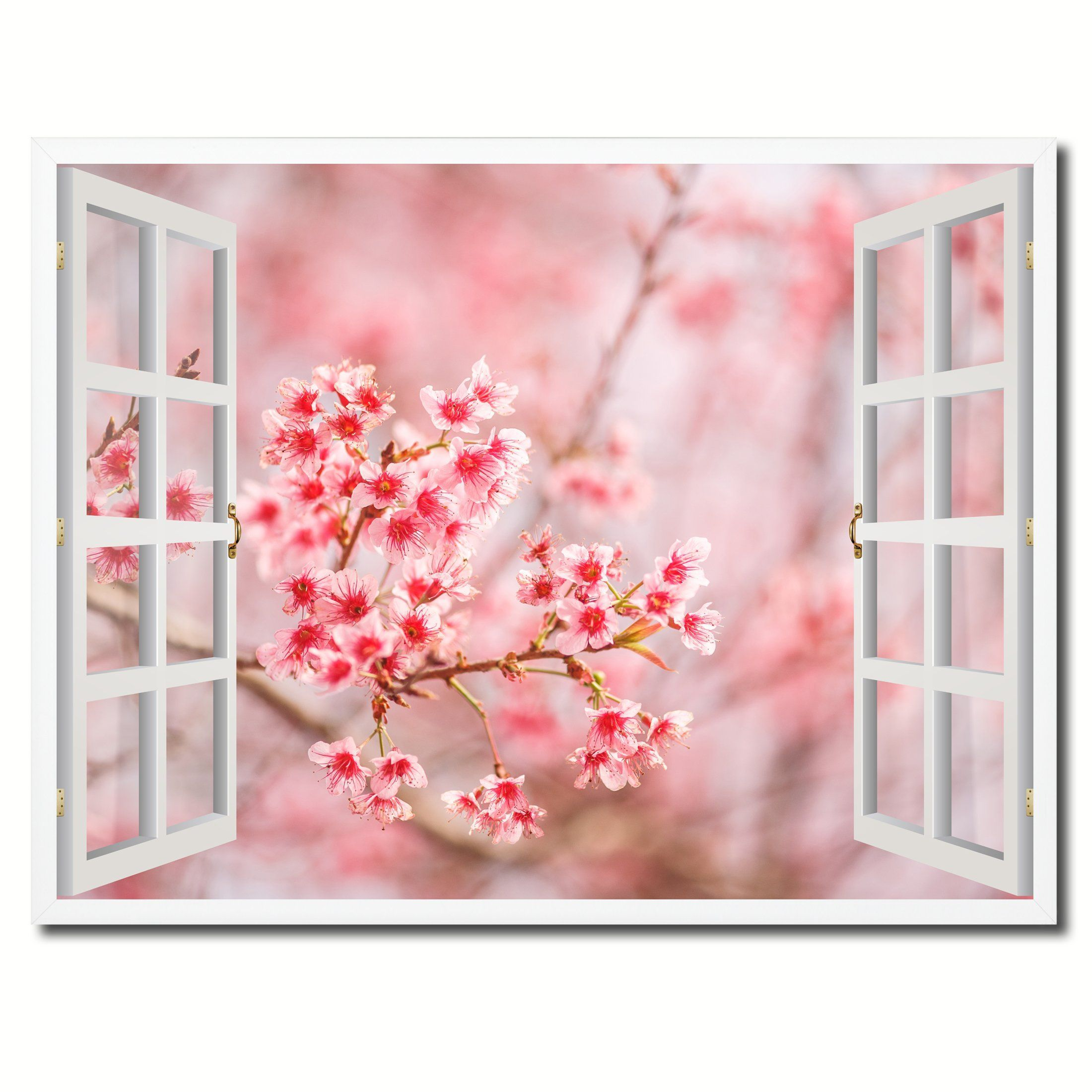 Cherry blossom beautiful flower picture french window framed canvas cherry blossom beautiful flower picture french window framed canvas print home decor wall art collection izmirmasajfo