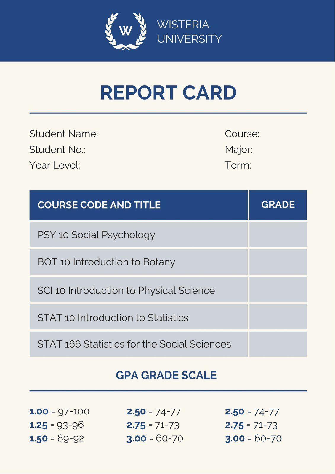Blue College Report Card Templatescanva Pertaining To College Report Card Template Report Card Template Blue College Report Card