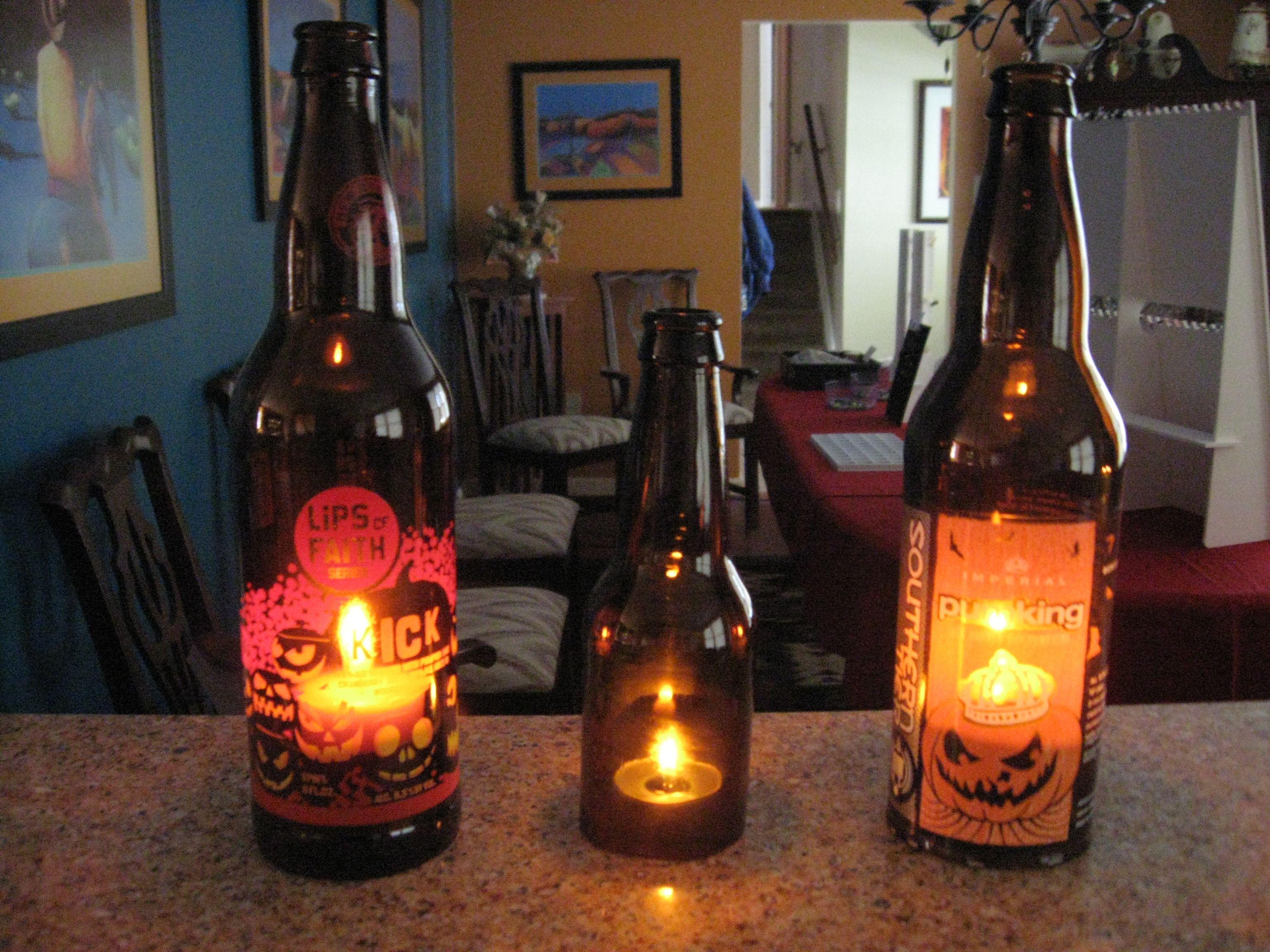 Beer Bottle Decoration Carving And Illuminating Pumpkin Beer Bottles For Halloween  Beer