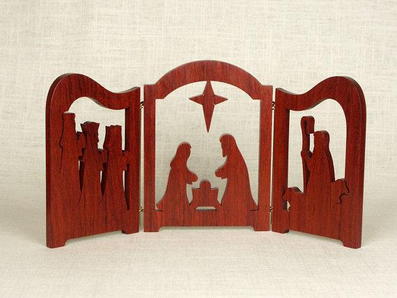 Trittico di scena di Natività (Padouk) - Creche, presepe, Re Magi, Gesù bambino, Nativity Silhouette