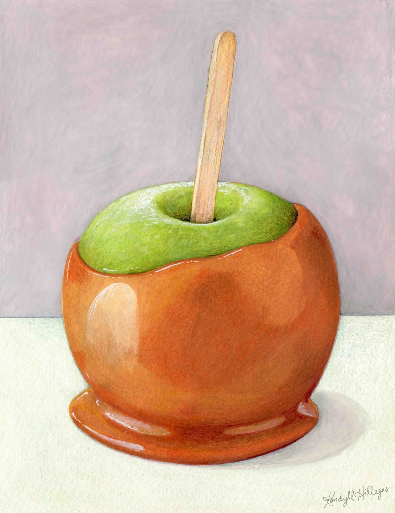 Caramel Apple By Kendyll Hillegas 9x12 Mixed Media On Paper Apple Illustration Caramel Apples Apple Painting