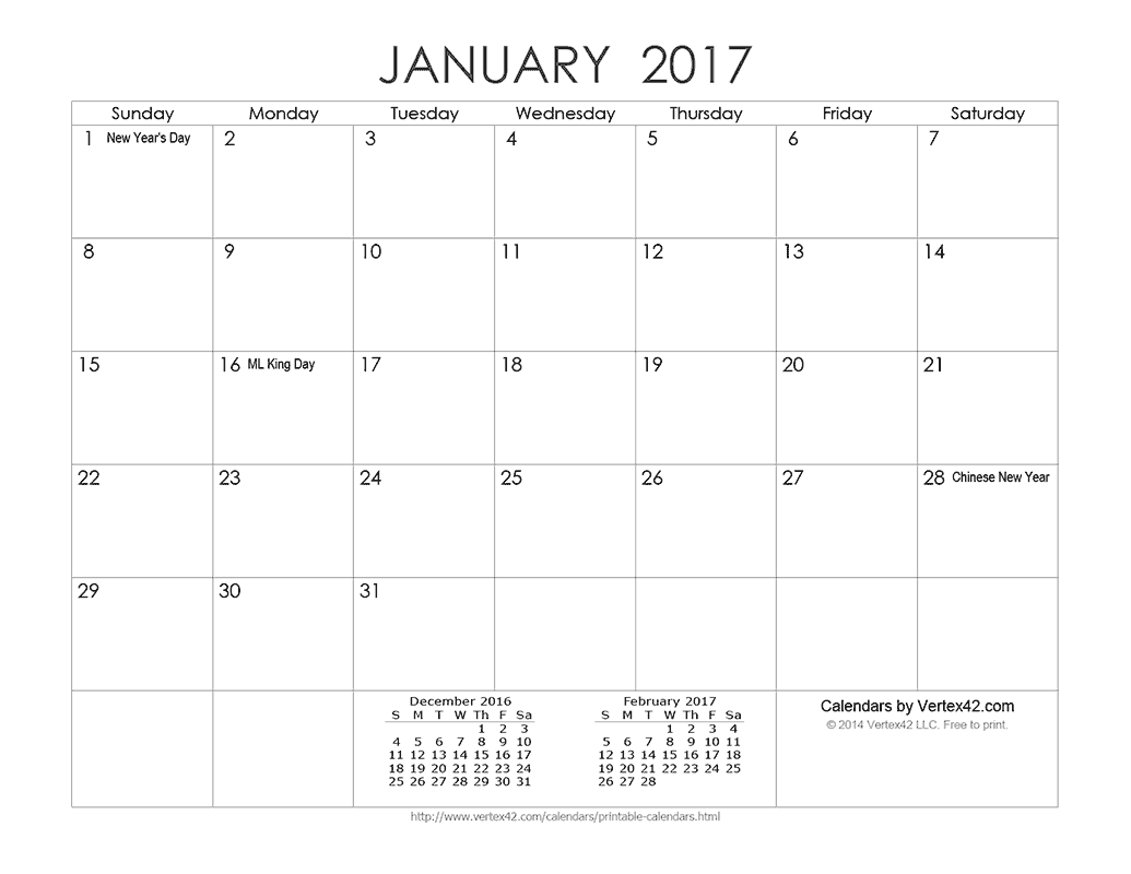 Download a free Printable Ink Saver 2017 Calendar from Vertex42 ...