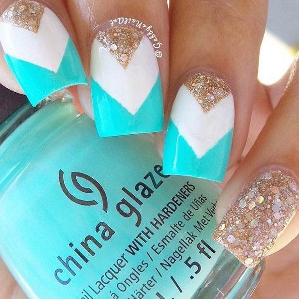 Teal And White Glitter Chevron Nails nails nail art nail