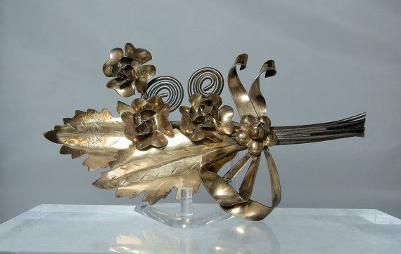 Vintage Brooch Estate Jewelry Raffaele 1/20 14k Gold Filled Sterling Silver 4 inches Flower Pin Brooch Soho Art Marked DanPickedMinerals