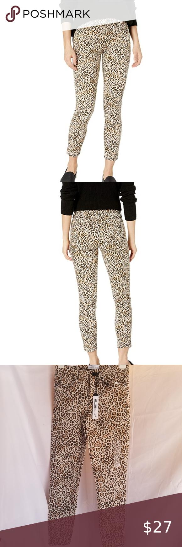 William Rast cheetah print ankle skinny jeans
