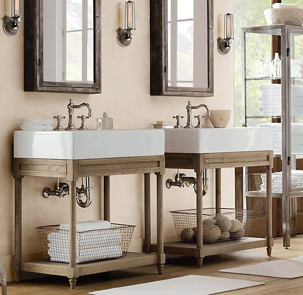 Console Idea For Wall Mount Sink Leaves An Open Feel Without Using A Pedestal Sink Weathered