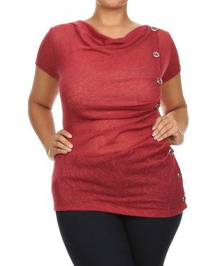 Red Button-Side Drape Top - Plus