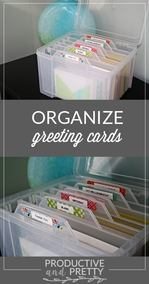 Organize greeting cards home office organization organizing organize greeting cards pinning for the awesome divided bin more m4hsunfo