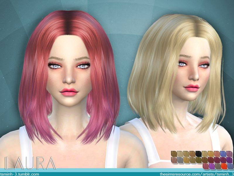 The Sims Resource Laura Hair By Tsminh 3 The Sims 4 Cabelos Sims Sims 4