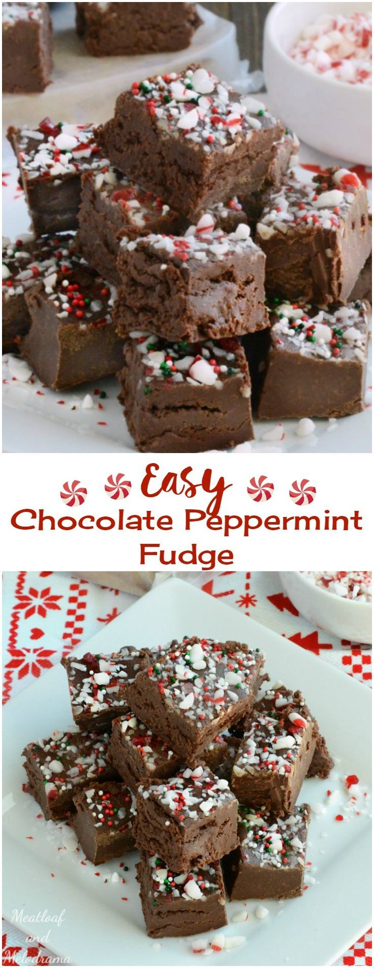 Easy Chocolate Peppermint Fudge #holidaytreats