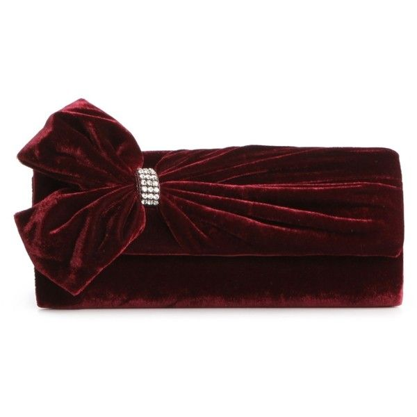Lulu Townsend Rhinestone Center Velvet Bow Clutch - Burgundy ($27) ❤ liked on Polyvore