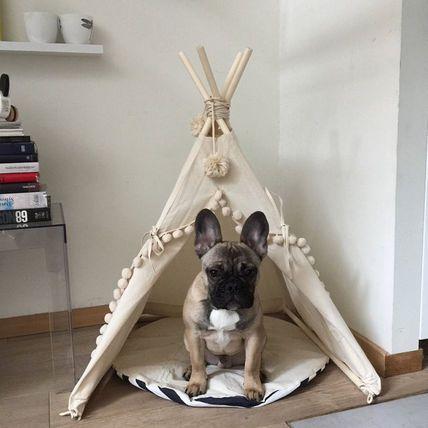 犬猫兼用ペットテントハウス pompom付き ペット 動物 かわいい ハンドメイド