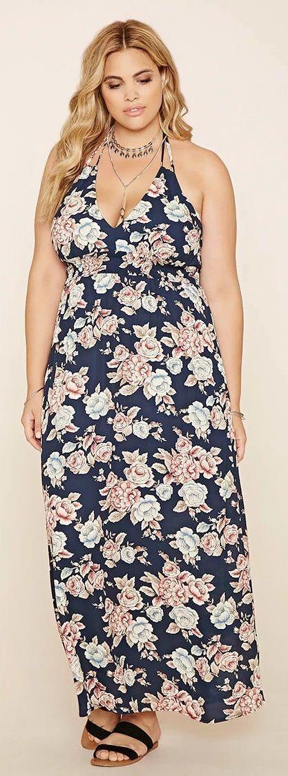 Plus Size Floral Maxi Dress Moda Para Gorditas Vestidos Outfits Plus Size