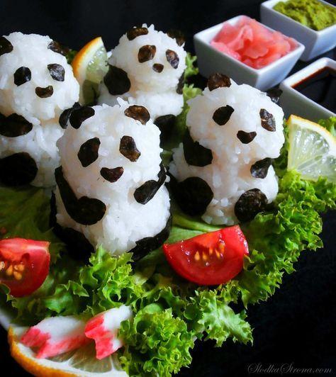 Sushi Panda - Przepis - Słodka Strona   Panda food. Sushi party. Sushi