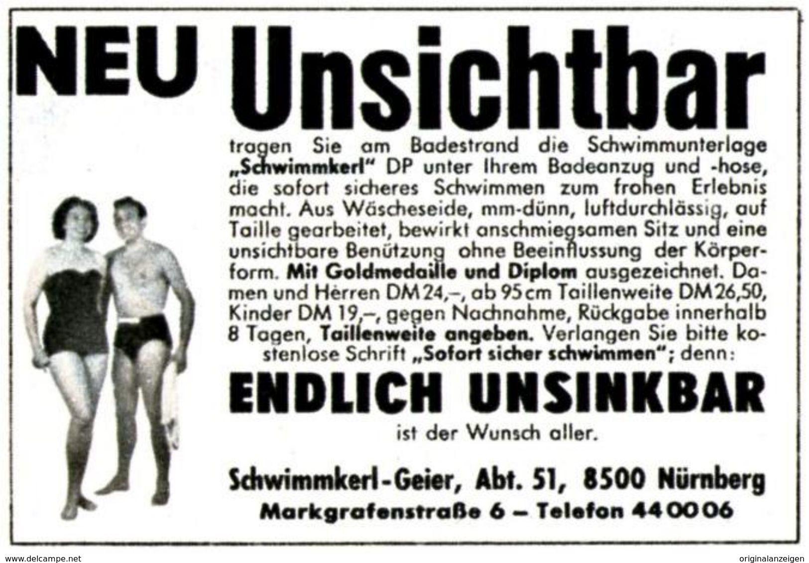 Original-Werbung/ Anzeige 1964 - SCHWIMMKERL / UNSINKBAR / GEIER - NÜRNBERG  - Ca. 55 X 40 Mm - Werbung