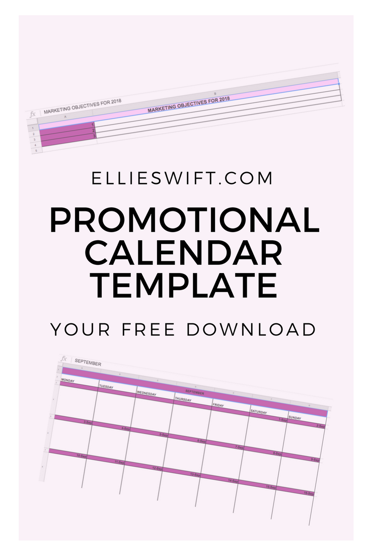 Promotional Calendar to plan your upcoming posts, blogs ...