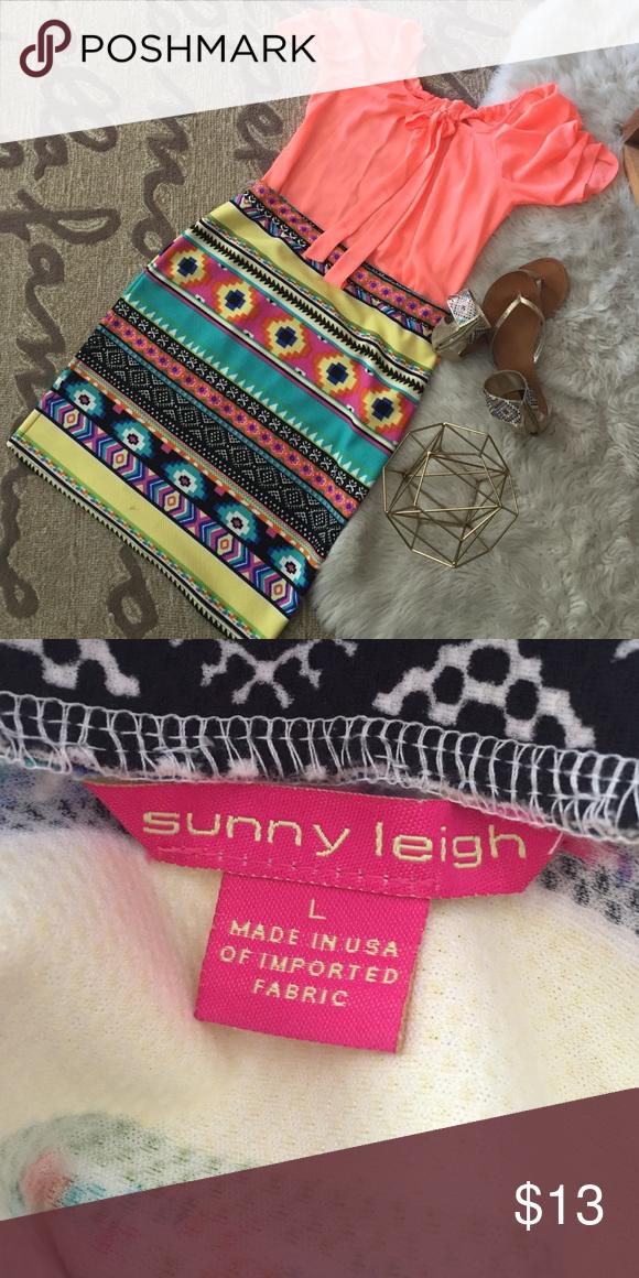 Aztec Print Skirt Aztec Print Skirt; Size L, beautiful bright fabric, no zipper, very comfortable! Sunny Leigh Skirts Midi