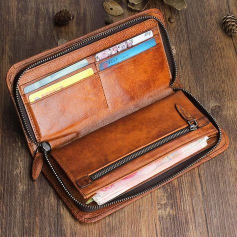 Handmade Leather Mens Cool Long Leather Wallet Zipper Phone Clutch Wallet #leatherwallets
