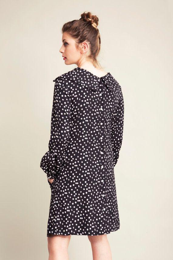 Button Dress Dress With Collar Black Dress Long Sleeve Knee