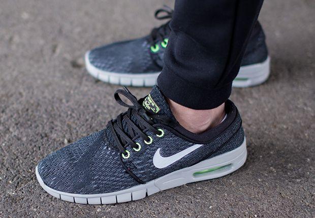 Nike SB Stefan Janoski Max - Wolf Grey - Flash Lime - SneakerNews.com