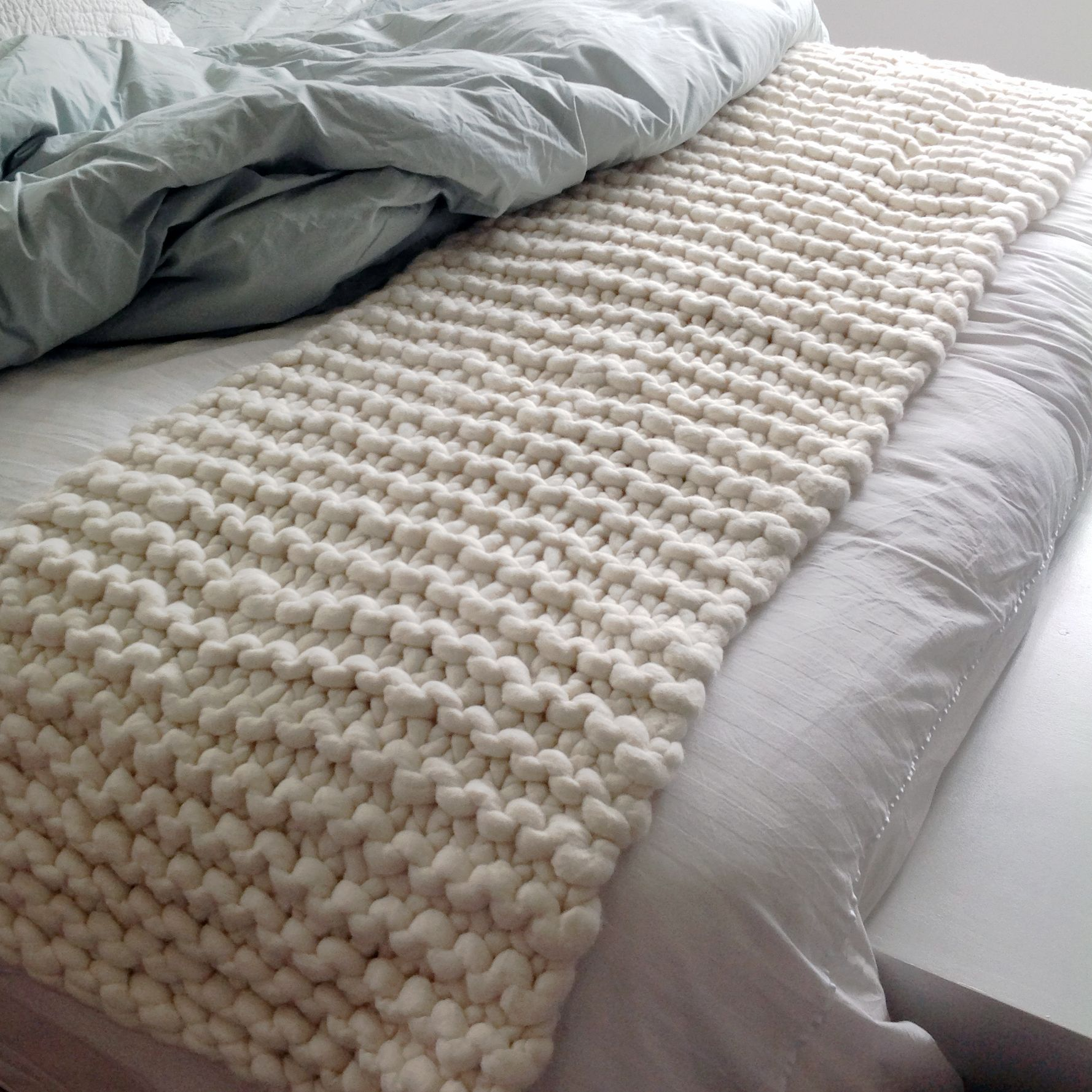 simple garter stitch bed runner Chunky knit throw
