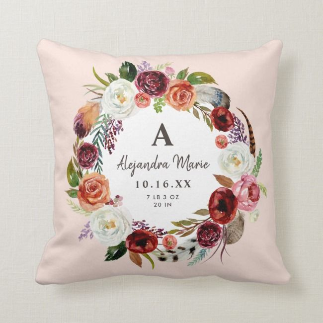 Autumn Boho Blooms Baby Name Birth Stats Throw Pillow