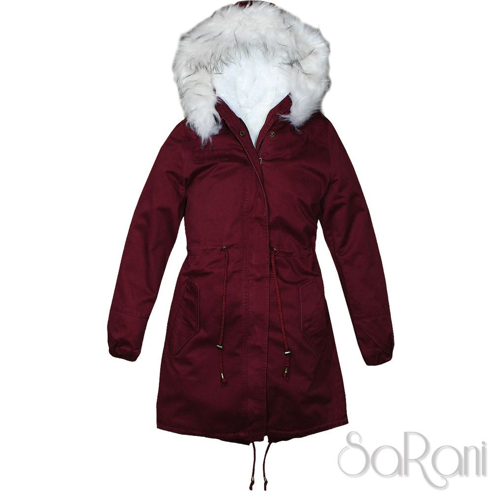 Giacca Trench Parka Donna Bordeaux Casual Invernale Foderato q5P4wzgxP