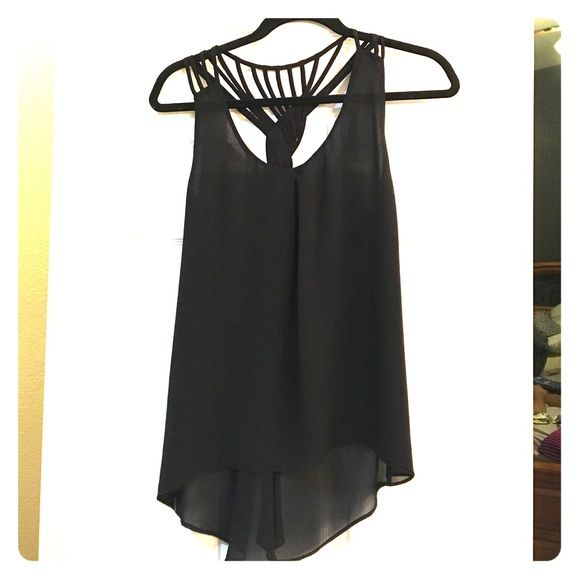 Strappy Tank Chiffon black tank with gorgeous braided strap detail. High low style. Tops Tank Tops
