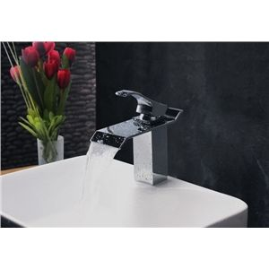 Bathroom Sink Faucets - Contemporary Modern Waterfall Basin Faucet With Single Handle Bathroom Taps (MS103)