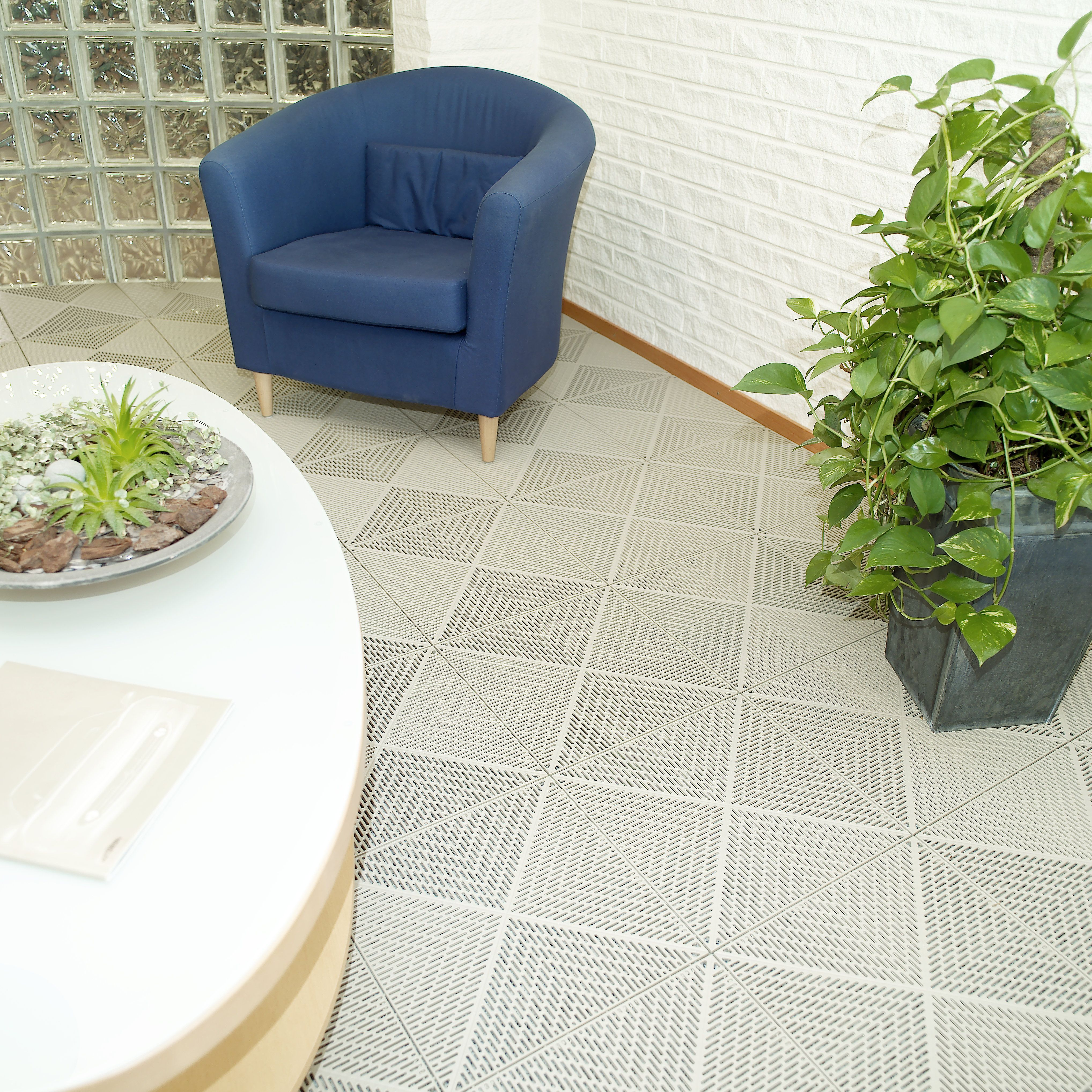 Indoor contemporary flooring.  Easy install, no adhesive or grout, Interlocking system with no mess. Available at www.tacttiles.com