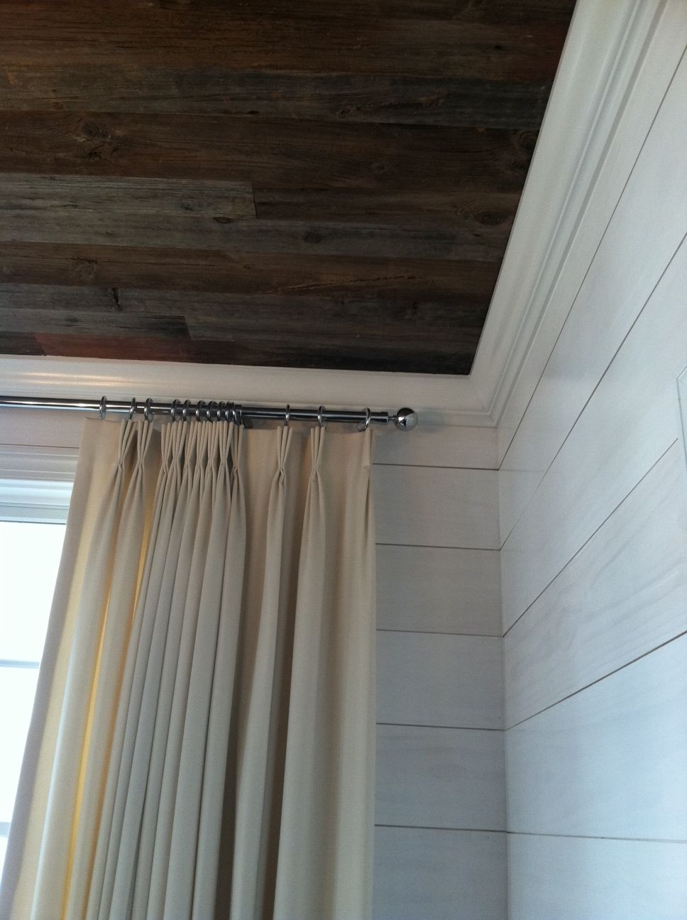 Reclaimed Barn Wood Ceiling And Whitewashed Shiplap On The