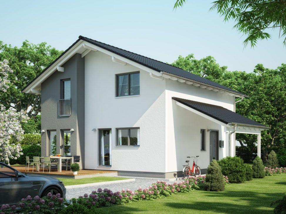 Modernes Satteldach Haus mit Carport Garage & Erker Haus