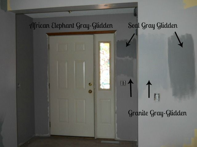 Foyer Painted In Glidden African Elephant Gray Paint Samples Of Seal And Granite