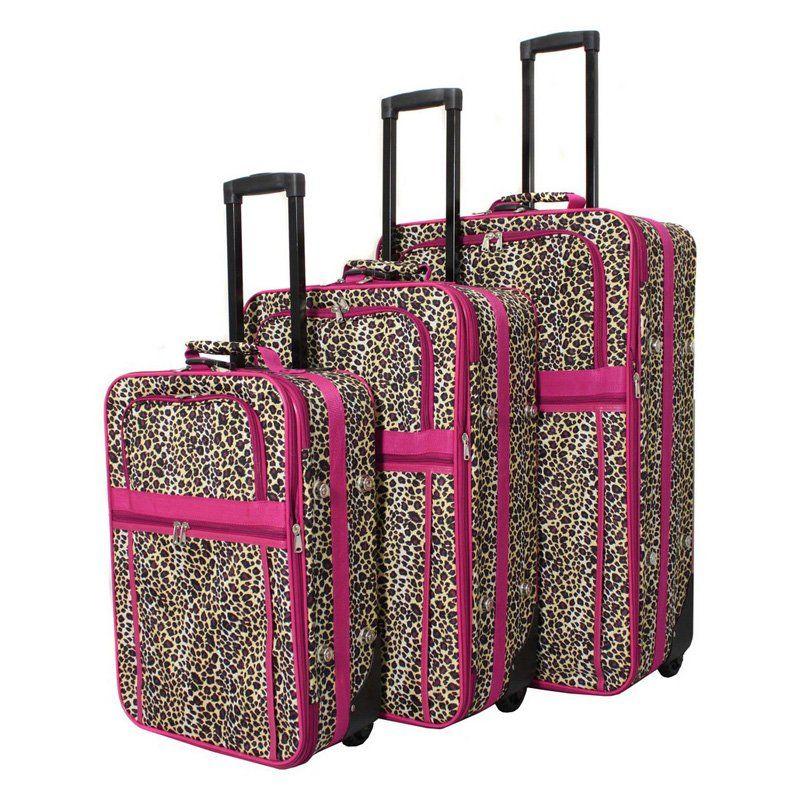 World Traveler Leopard 3 Piece Expandable Upright Luggage Set - 818903-168-F