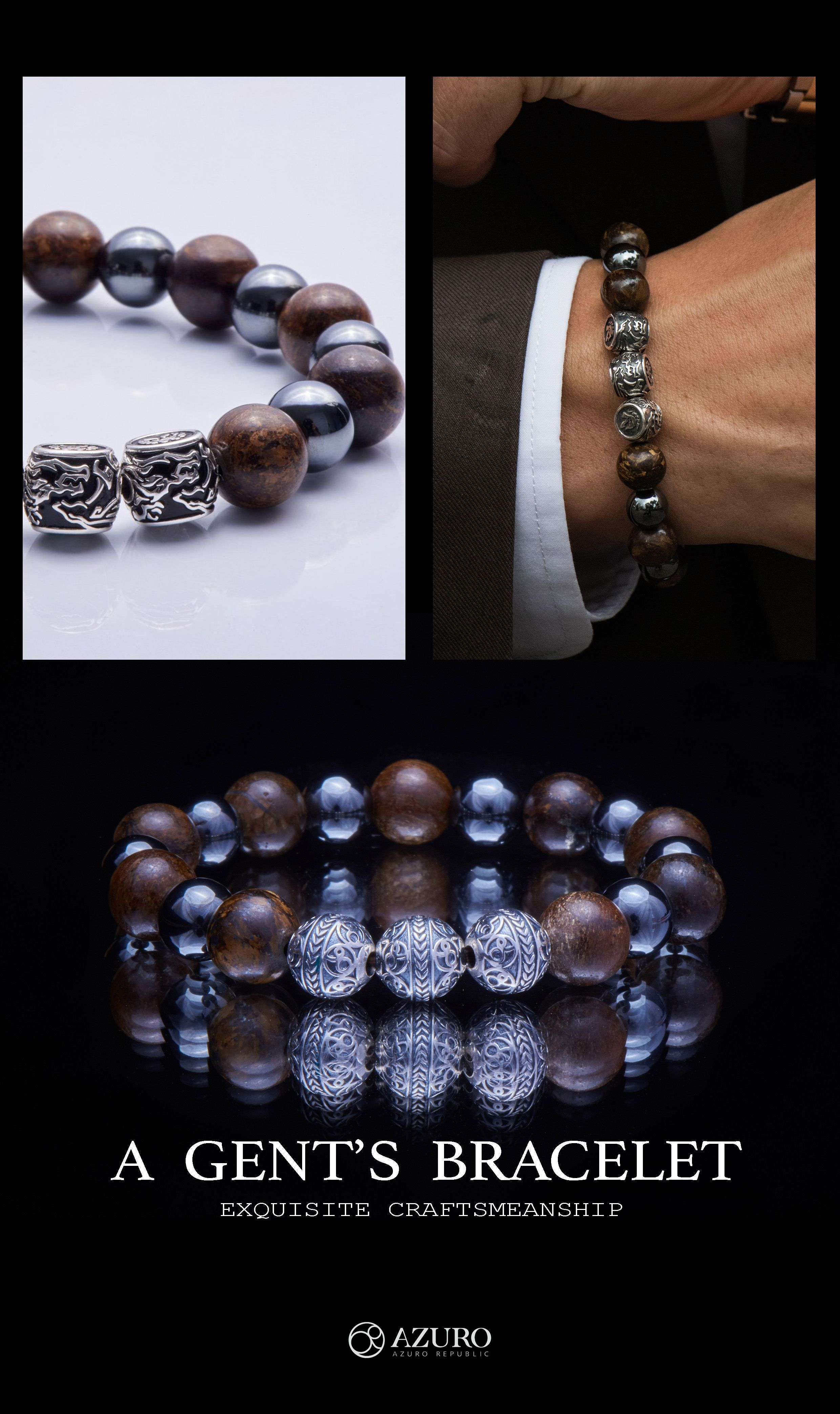 bc8a544c77f7d Collections of mens' finest beaded bracelets today from AZURO ...