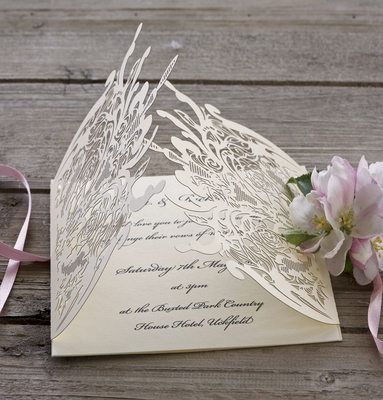 Rose Lace Laser Cut Wedding Invitation Wraps