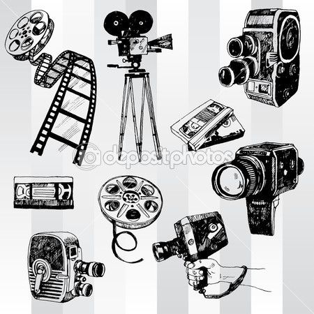 Retro Cinema Set Stock Vector 30845999 Camera Illustration