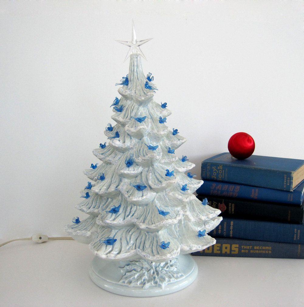 Vintage Ceramic Christmas Tree Blue Doves Blue Birds Bulbs Vintage Ceramic Christmas Tree Ceramic Christmas Trees Christmas
