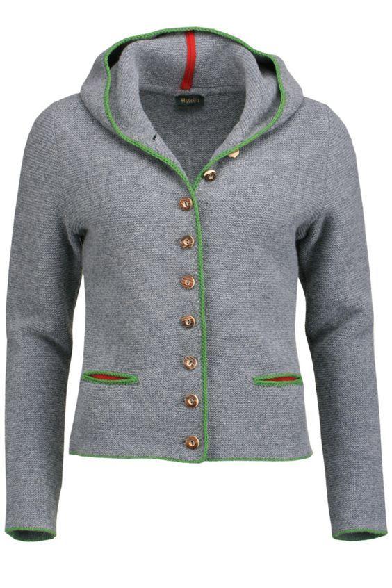 Trachten Strickjacke mit Kapuze grau grün | Tracht