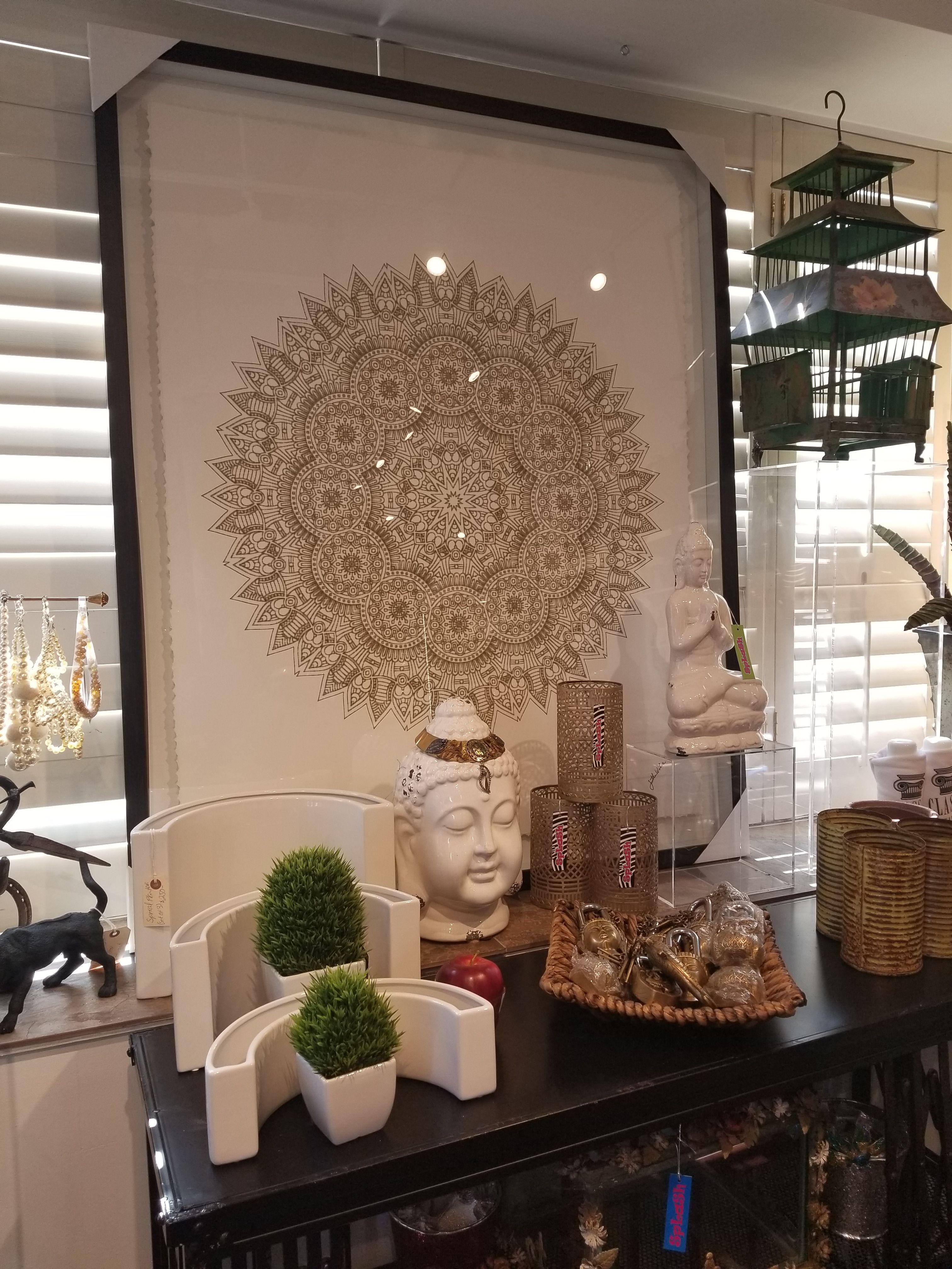 Gold On White Mandala Black Frame Zen Interior Design London Ontario