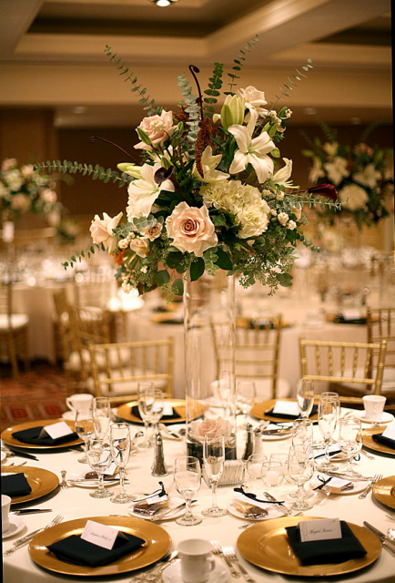 elegant+tall+yellow+floral+centerpieces+for+wedding+reception |
