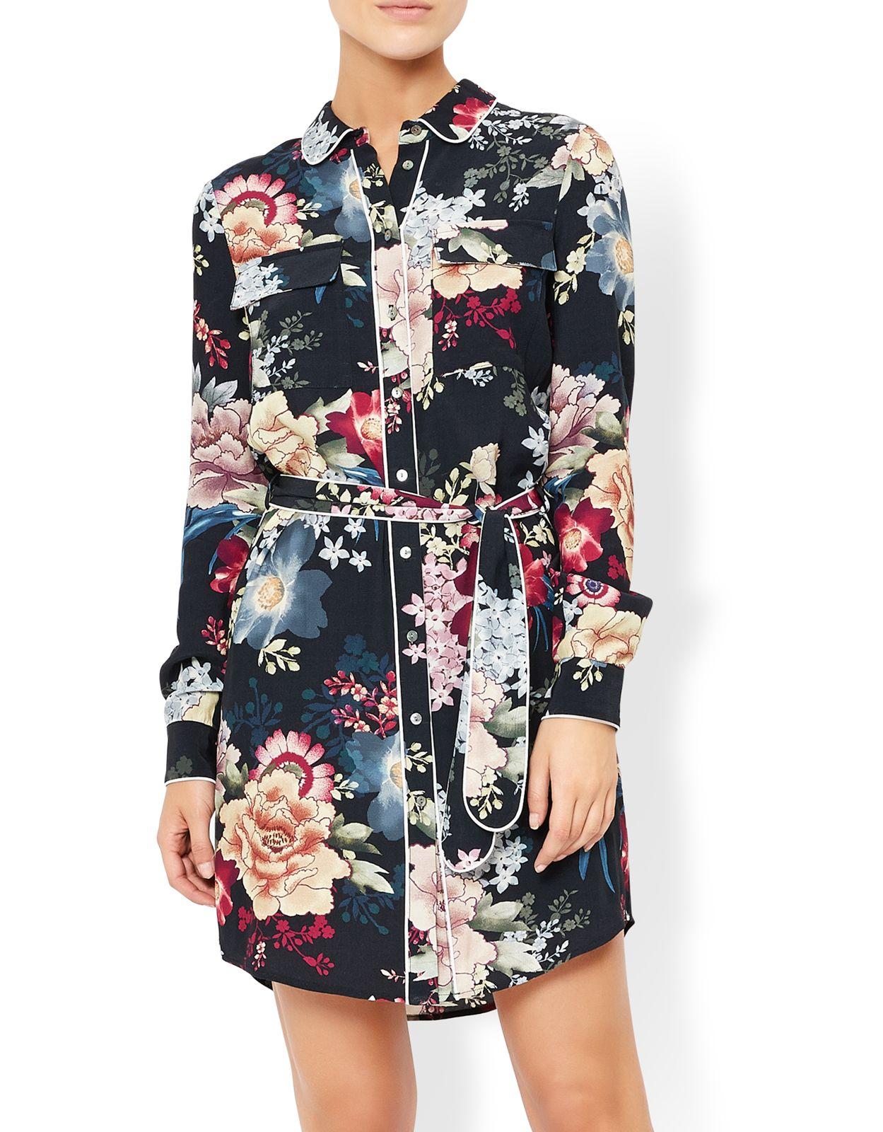 94b479518a8 Jasmine Print Piped Shirt Dress