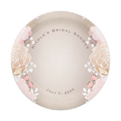 #rustic - #Modern Pink u0026 Gold Floral Bridal Shower Any Event Paper Plate  sc 1 st  Pinterest & rustic - #Modern Pink u0026 Gold Floral Bridal Shower Any Event Paper ...