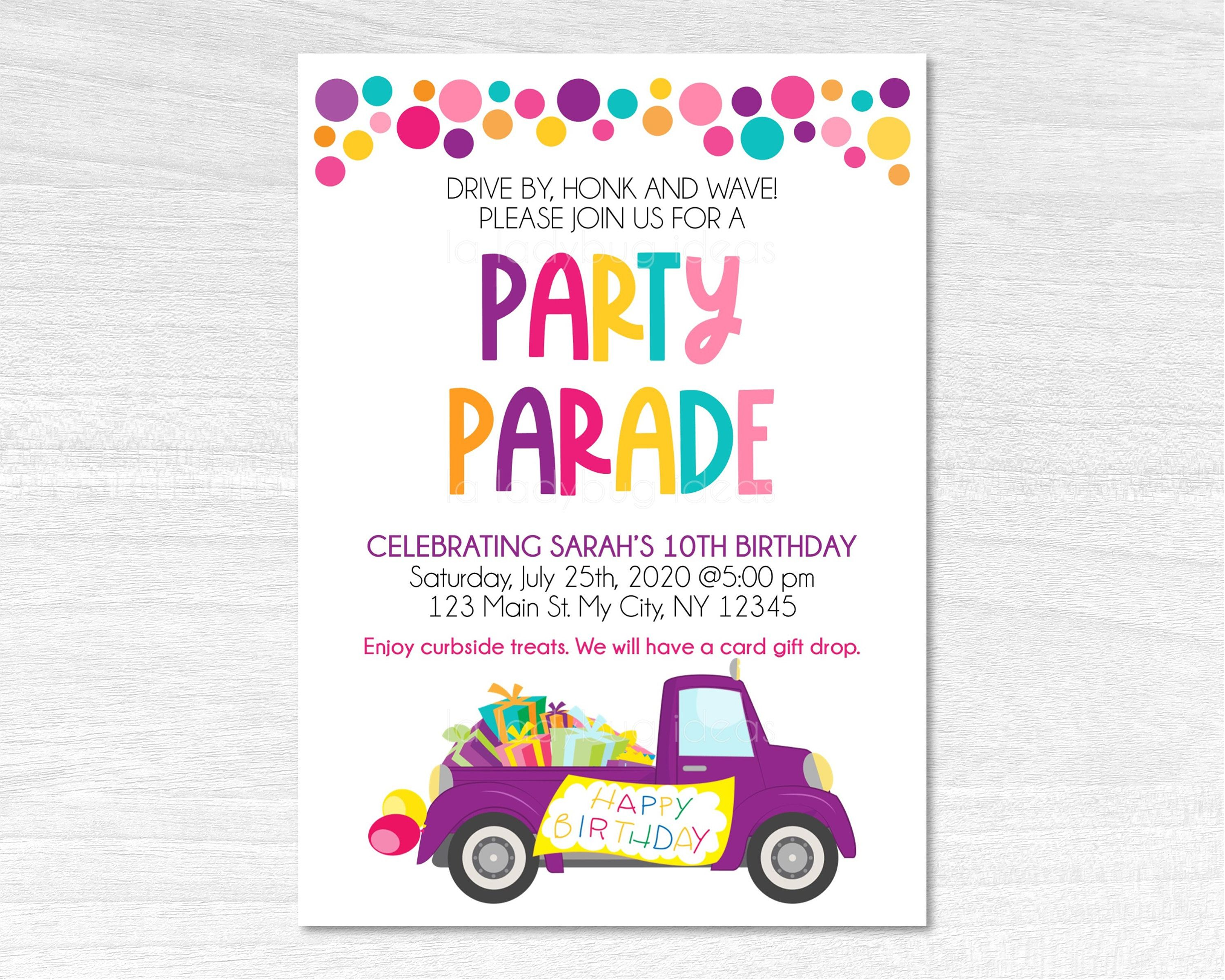 drive by birthday party invitation