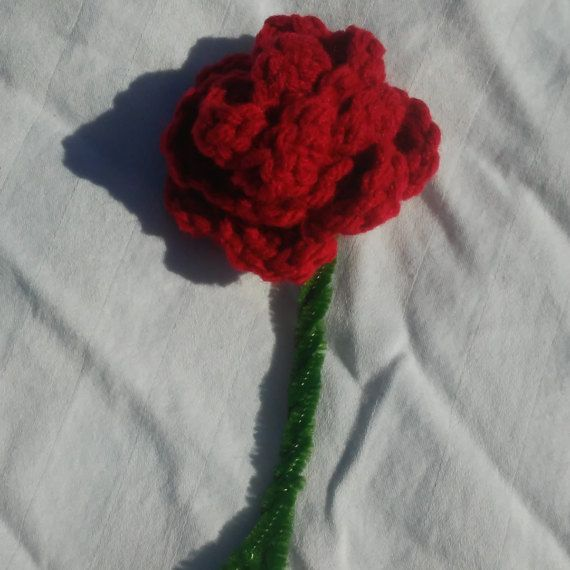 Crocheted Red Rose with Stem by SpookyStitchcraft on Etsy